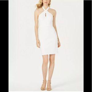 Adrianna Papell white halter keyhole sheath dress